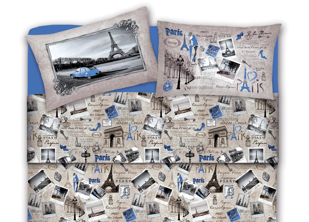Set Completo Lenzuola In Flanella Disegno Parigi -  - ebay.it