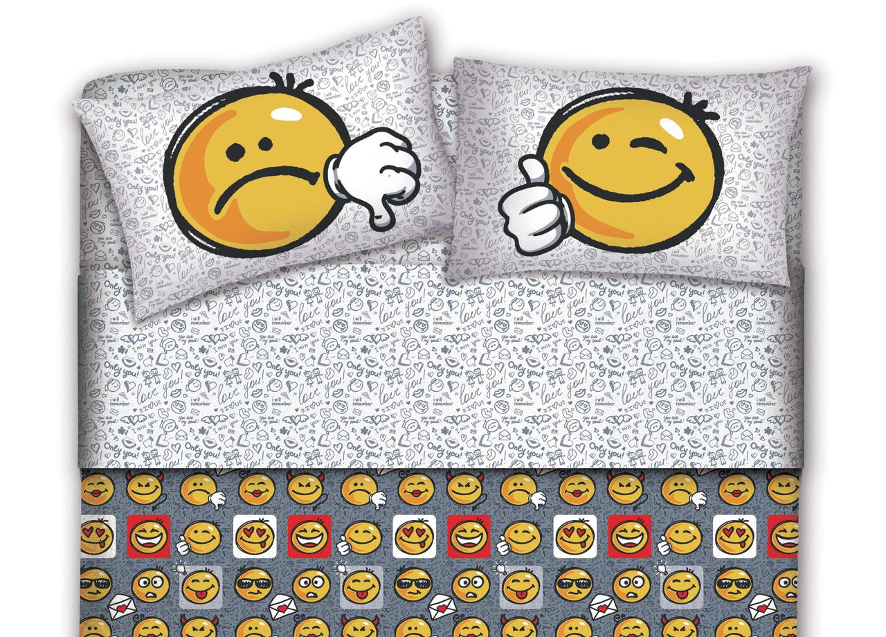 Parure Copripiumino In Flanella Disegno Smile -  - ebay.it
