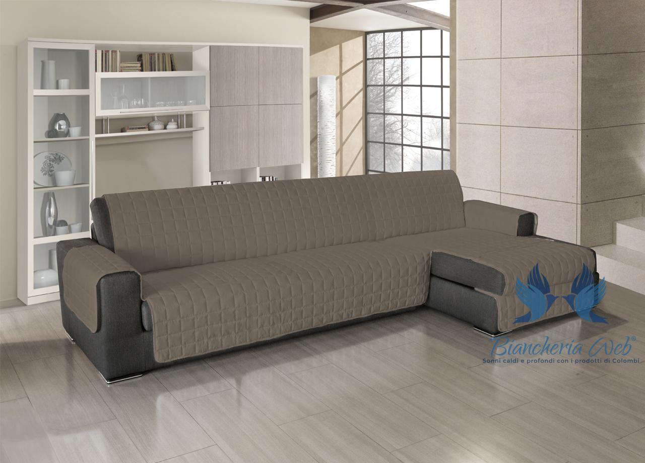 Copridivano trapuntato per divani con penisola in tinta - Copridivano per divani reclinabili ...
