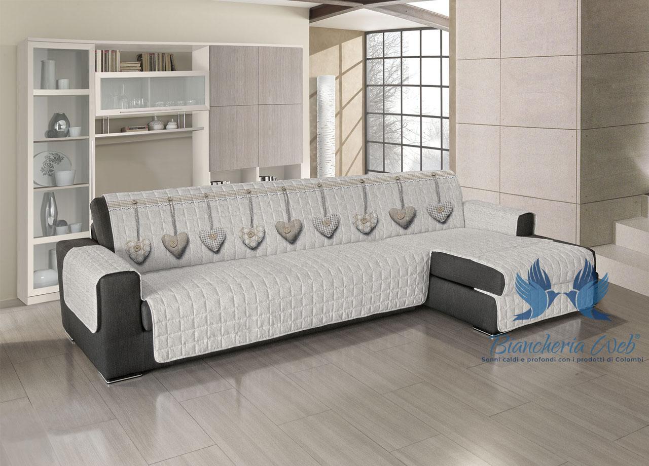 Copridivano trapuntato per divani con penisola disegno - Copridivano stile provenzale ...
