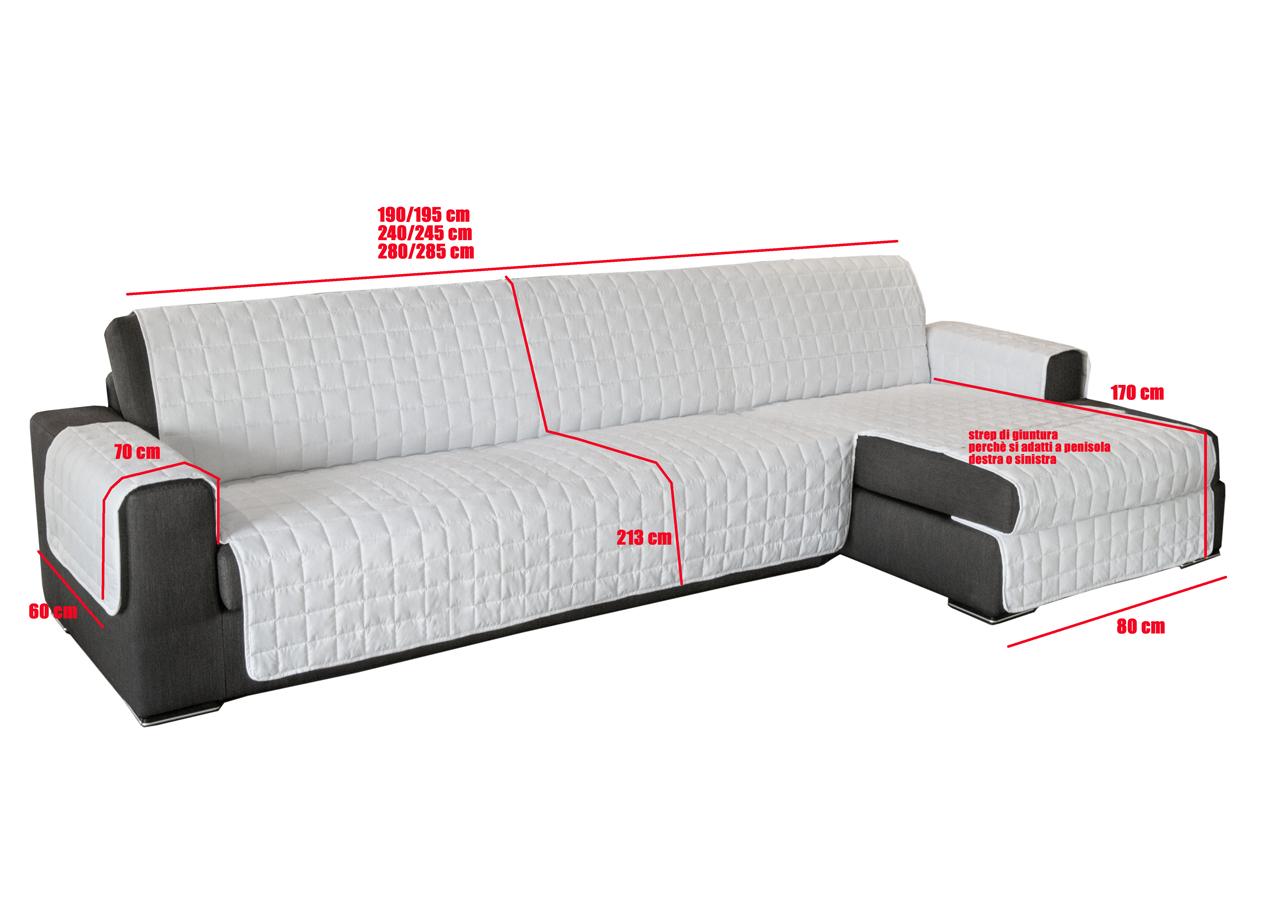 Copridivano trapuntato per divani con penisola in tinta for Misure divani con penisola