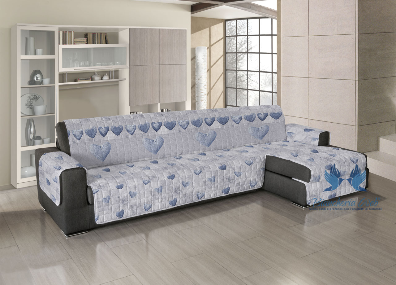 Copridivano trapuntato per divani con penisola disegno - Copridivano per divani reclinabili ...